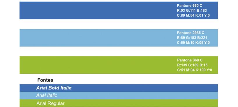 LifeFitness - tabela de cores e fontes
